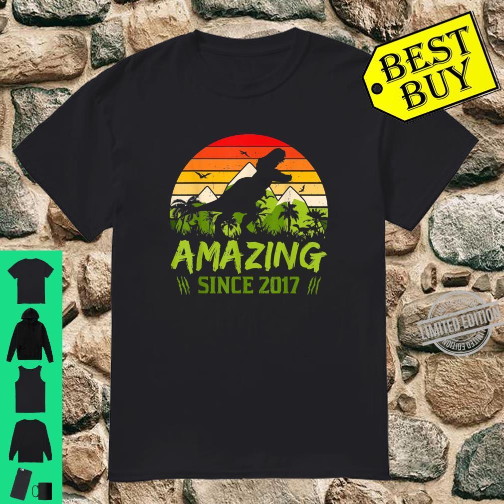 Amazing Since 2017 3rd Dinosaur Birthday 3 Year Old Shirt