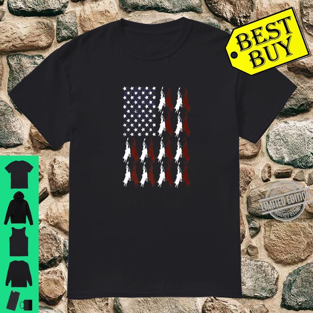 Bull Riding Rodeo Cowboy USA Flag 4th Of July Retro US Shirt