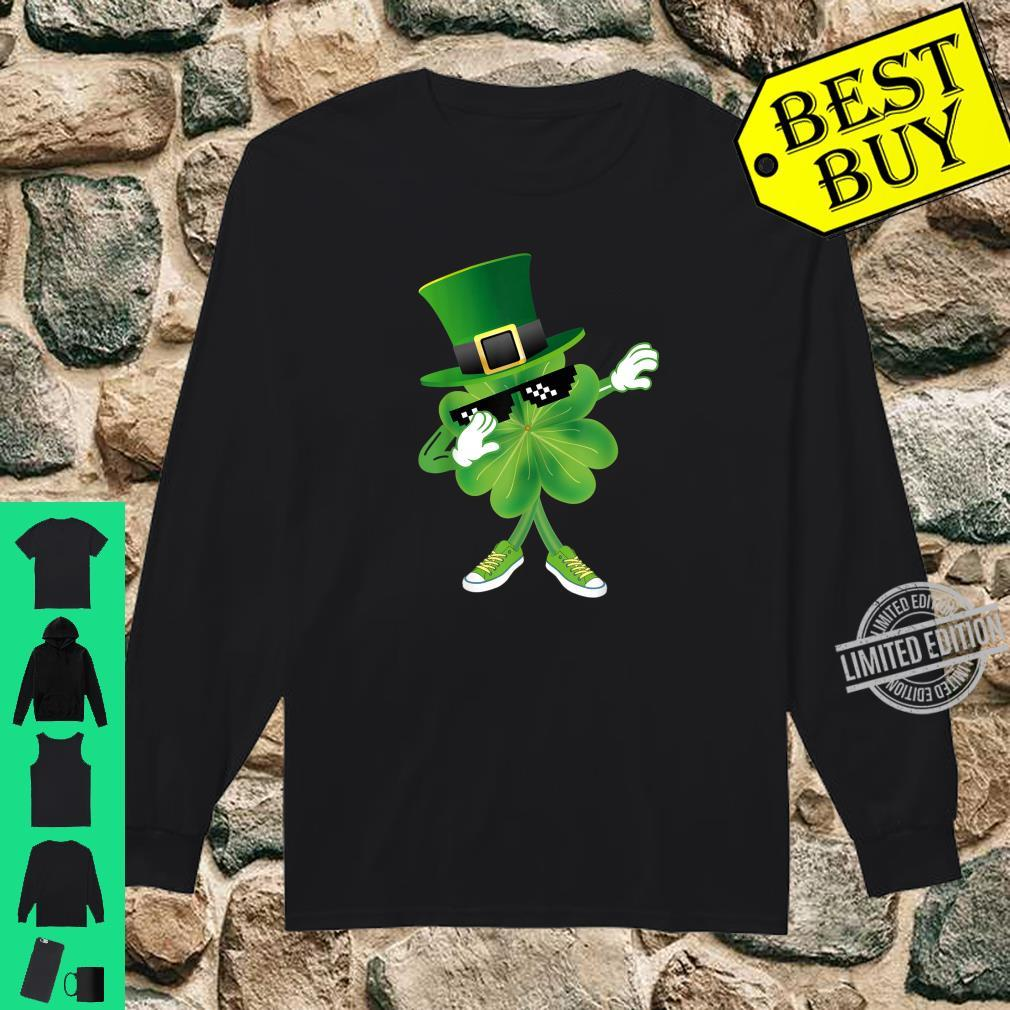 Dabbing Shamrock leprechaun hat Patrick's day Shirt long sleeved