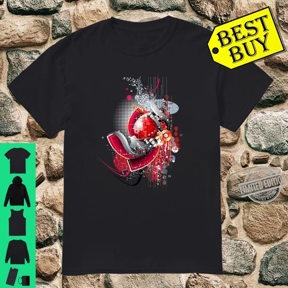 Discokugel Disco Musik CD Rot Farbe Design Licht Tanzen Shirt