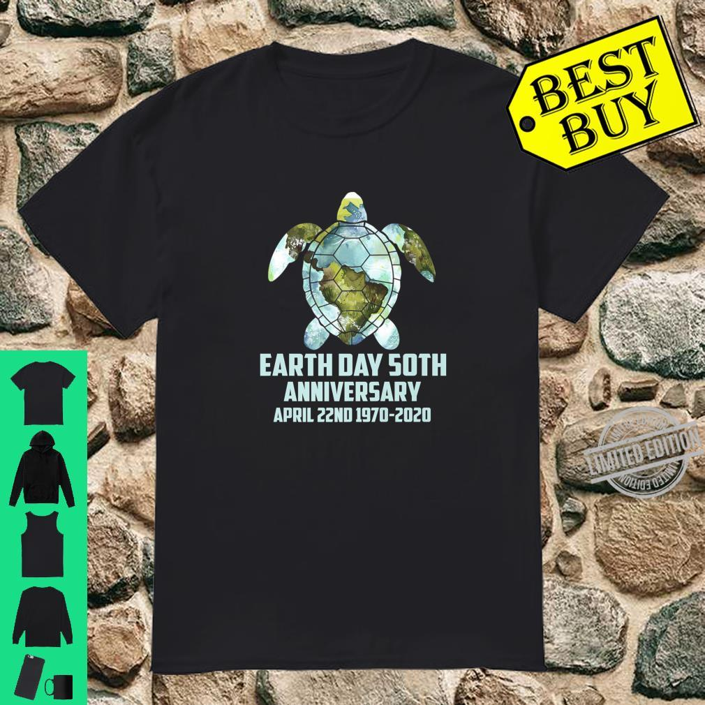 Earth Day 50th Anniversary Sea Turtle World Map Shirt