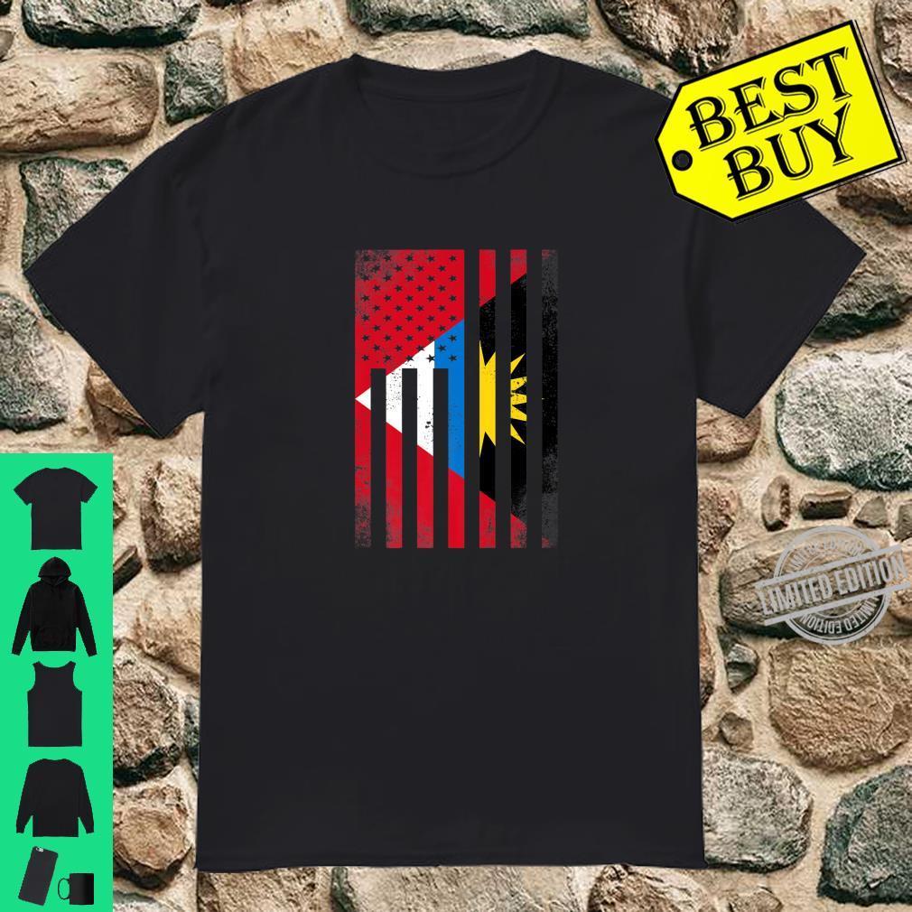 Half Antiguan & Barbudan Flag Vintage American Inside USA Shirt