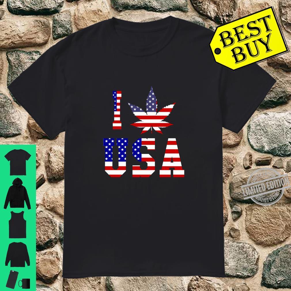 I Love USA Unkraut Amerikanische Flagge Shirt