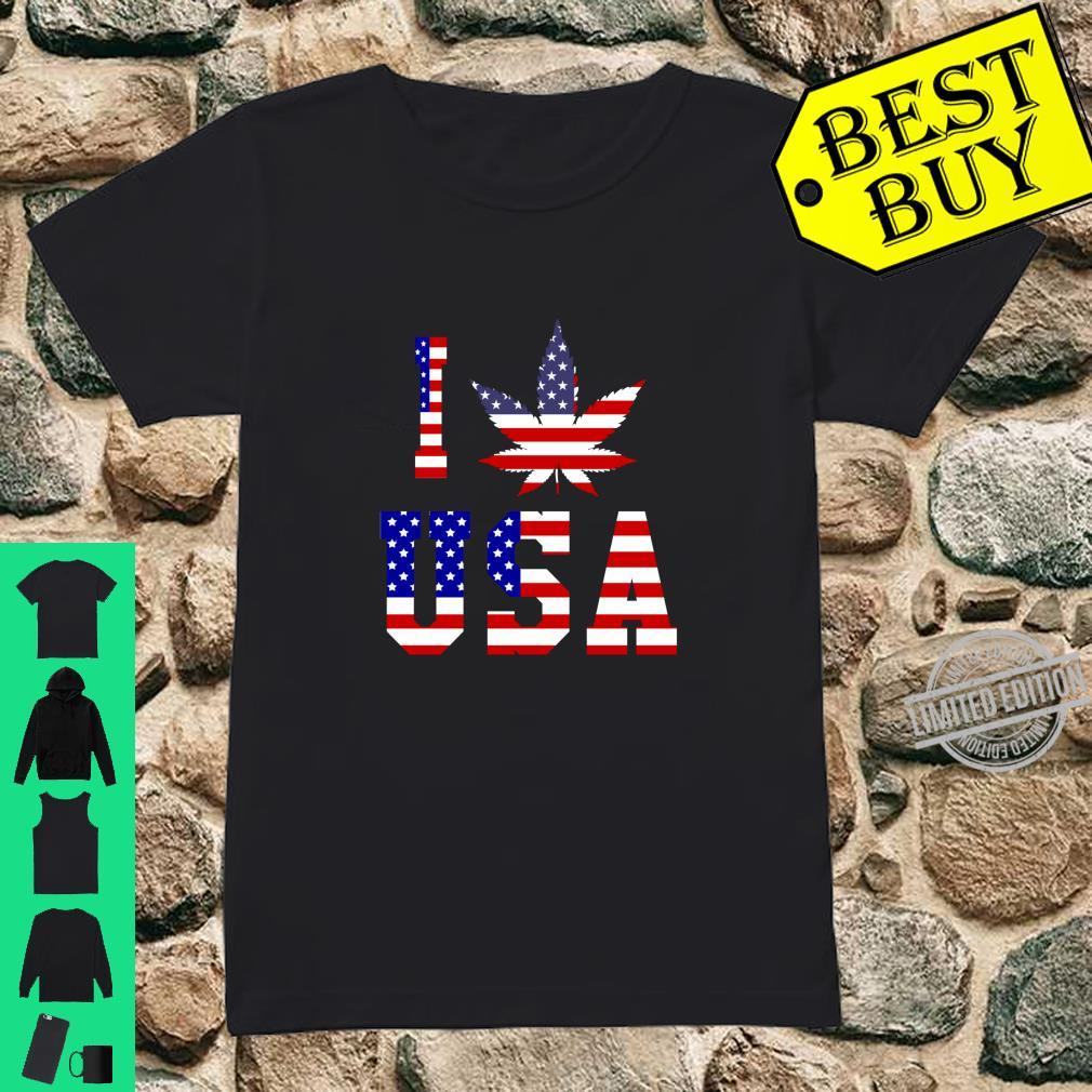 I Love USA Unkraut Amerikanische Flagge Shirt ladies tee