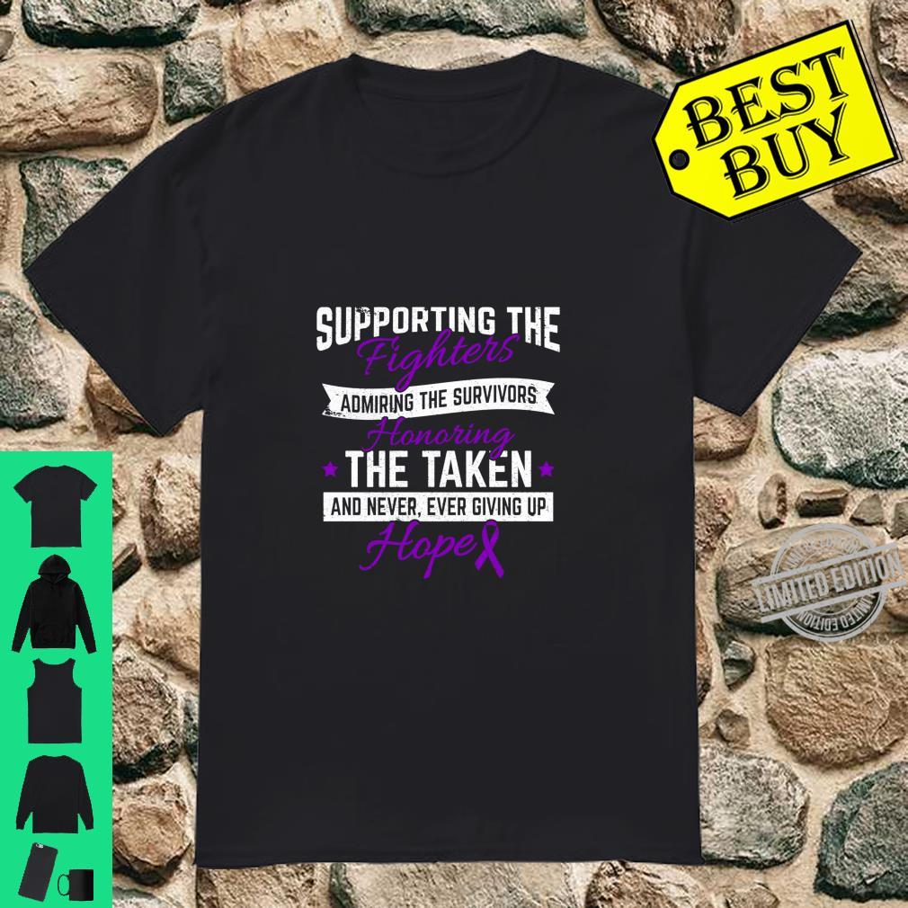Pancreatic Cancer Awareness Fighter Purple Ribbon Support Shirt