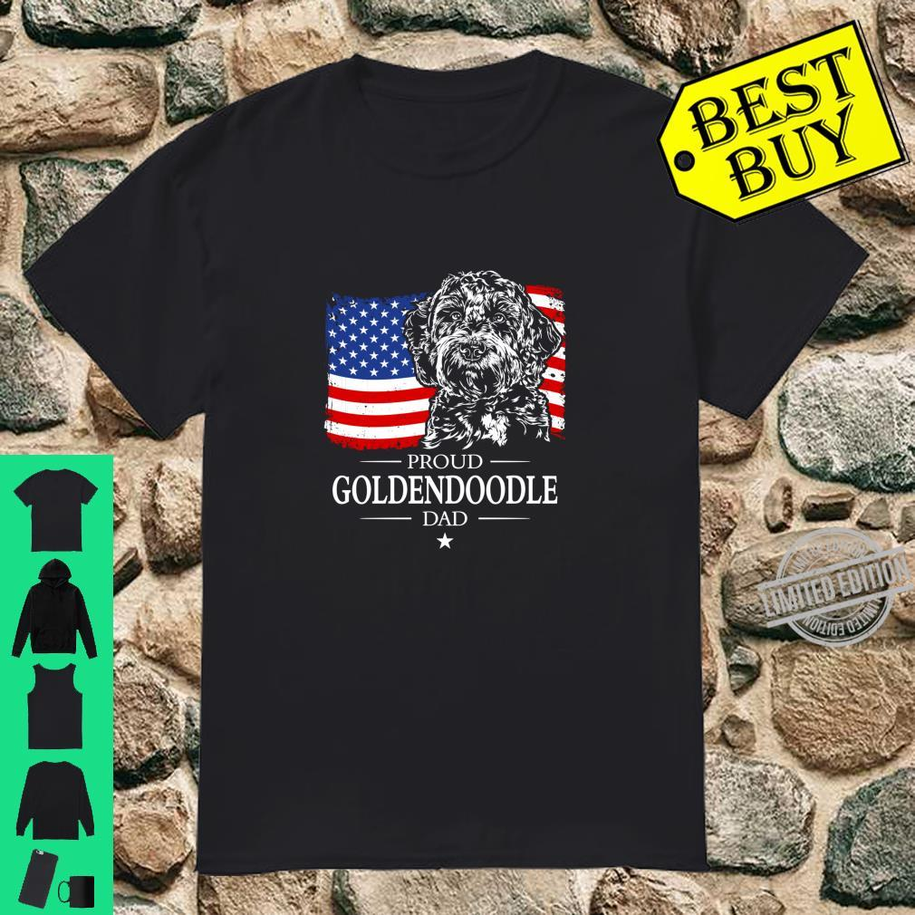 Proud Goldendoodle Dad American Flag patriotic dog Shirt
