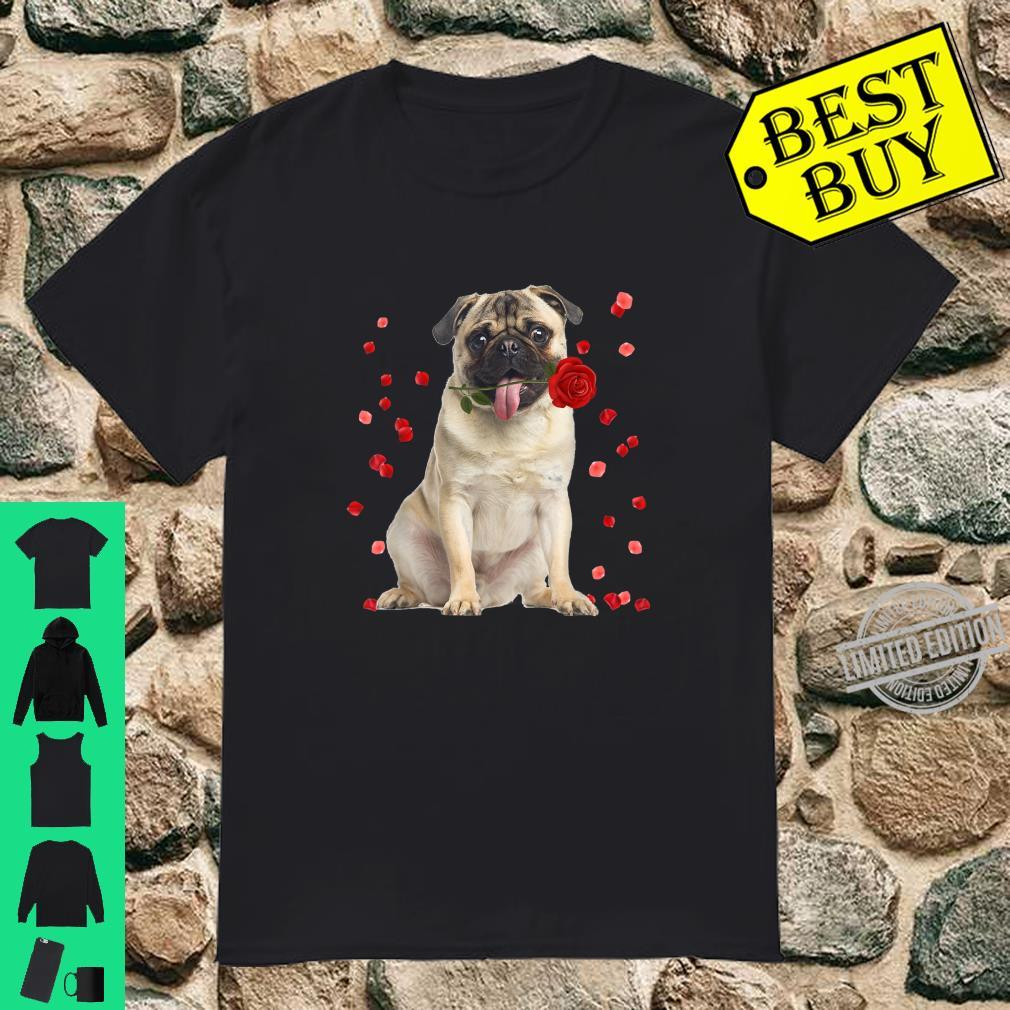 Pug Dog With Rose Falling Cute Valentine's Day Shirt