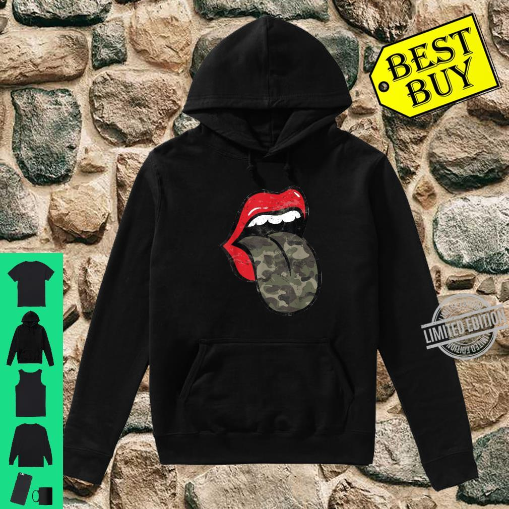 Red Lips Camo Tongue Distressed Trendy Grunge Shirt hoodie