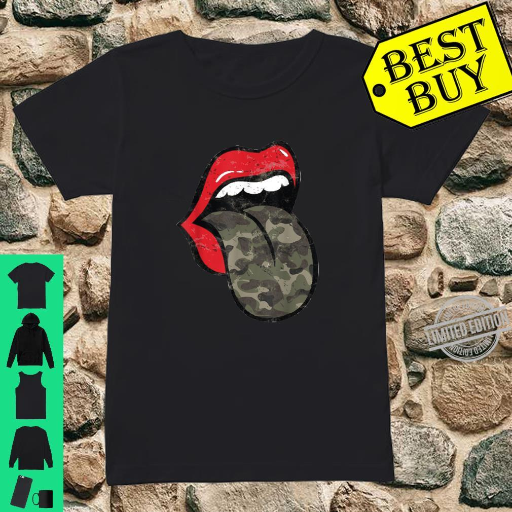 Red Lips Camo Tongue Distressed Trendy Grunge Shirt ladies tee