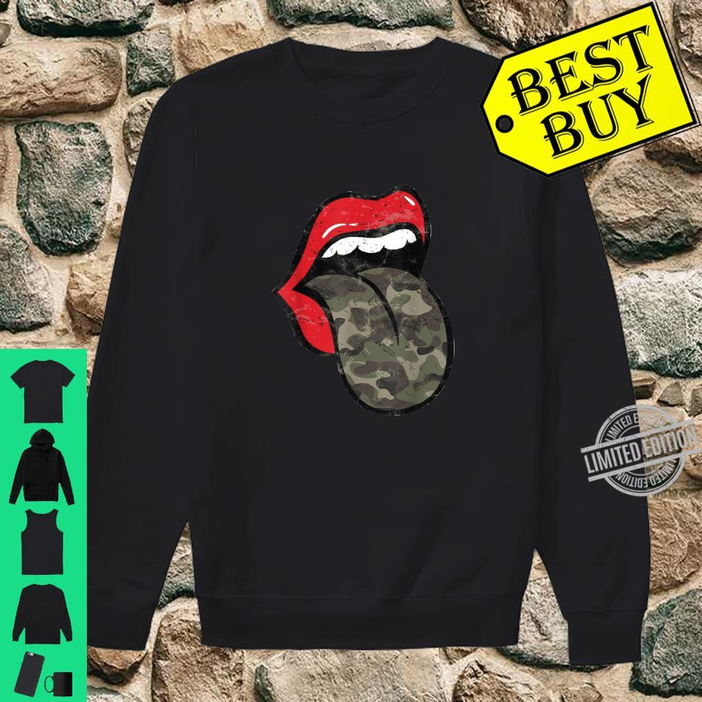 Red Lips Camo Tongue Distressed Trendy Grunge Shirt sweater