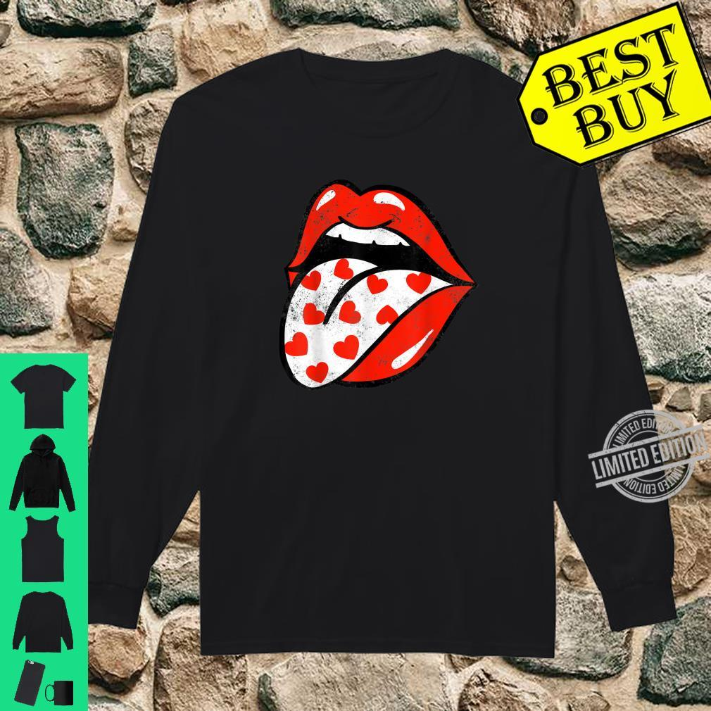Red Lips Tongue Out Valentines Hearts Trendy Girl Shirt long sleeved