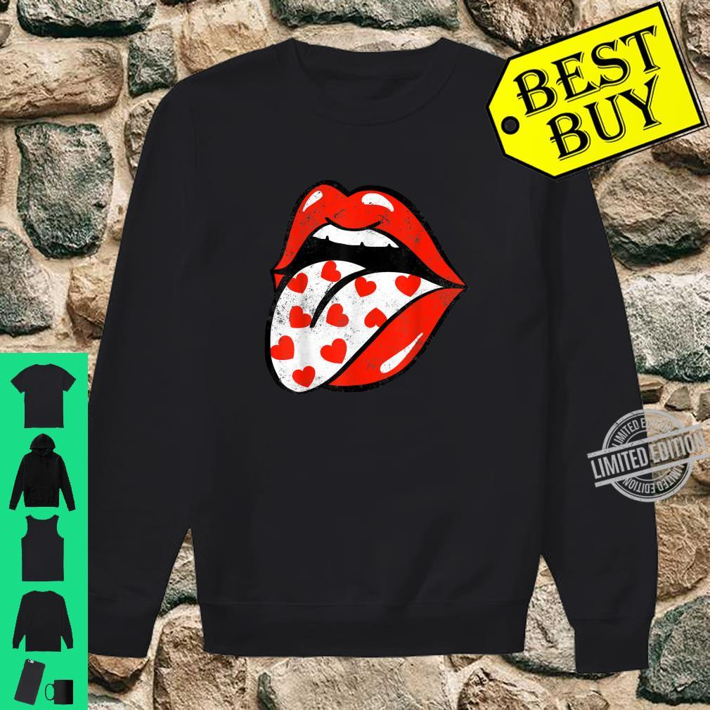 Red Lips Tongue Out Valentines Hearts Trendy Girl Shirt sweater