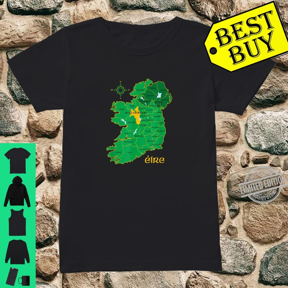 Roscommon Ireland County Map Eire Irish Travel Celtic Shirt ladies tee