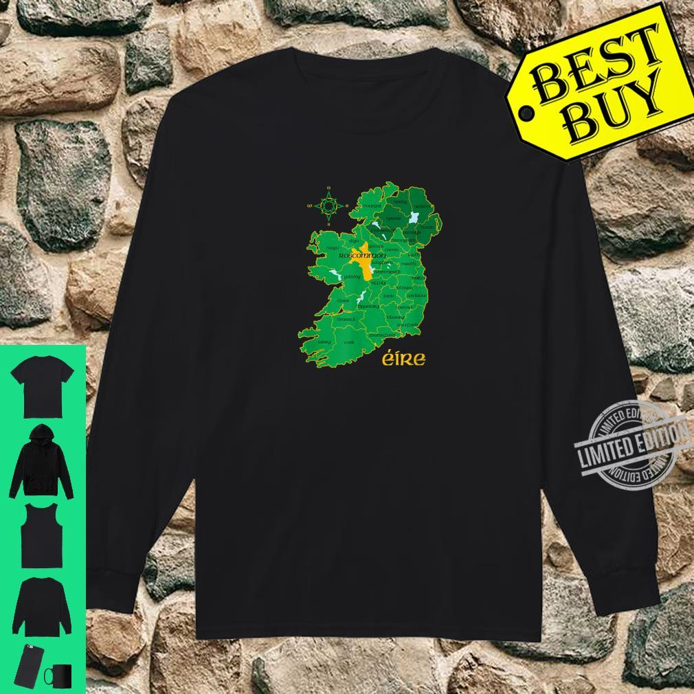 Roscommon Ireland County Map Eire Irish Travel Celtic Shirt long sleeved