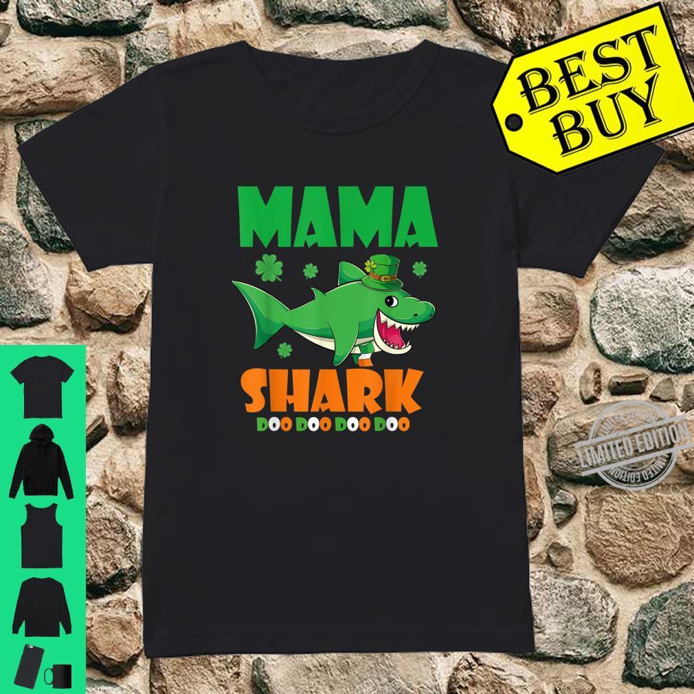 St Patricks Day Mama Shark Shirt ladies tee