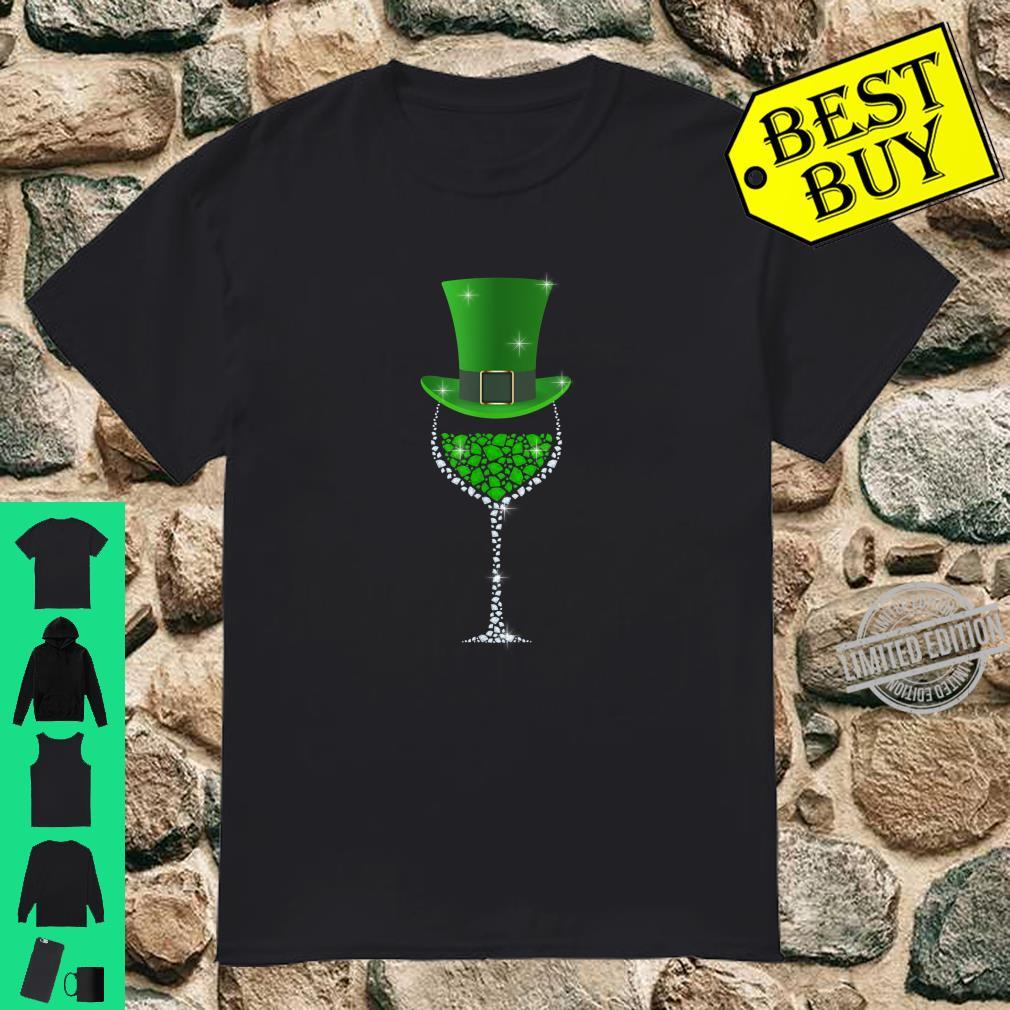 St Patricks Day Shamrock Wine Glass Shirt