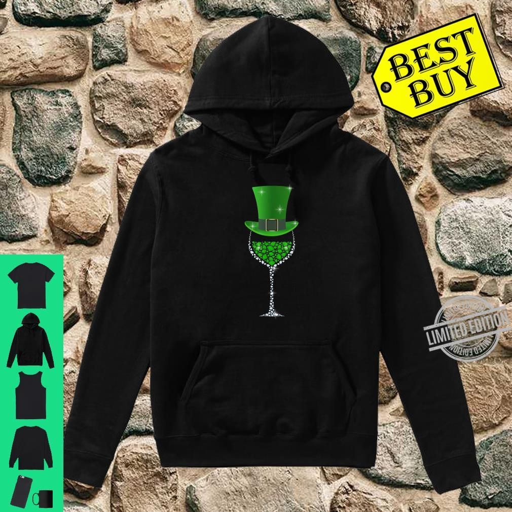 St Patricks Day Shamrock Wine Glass Shirt hoodie