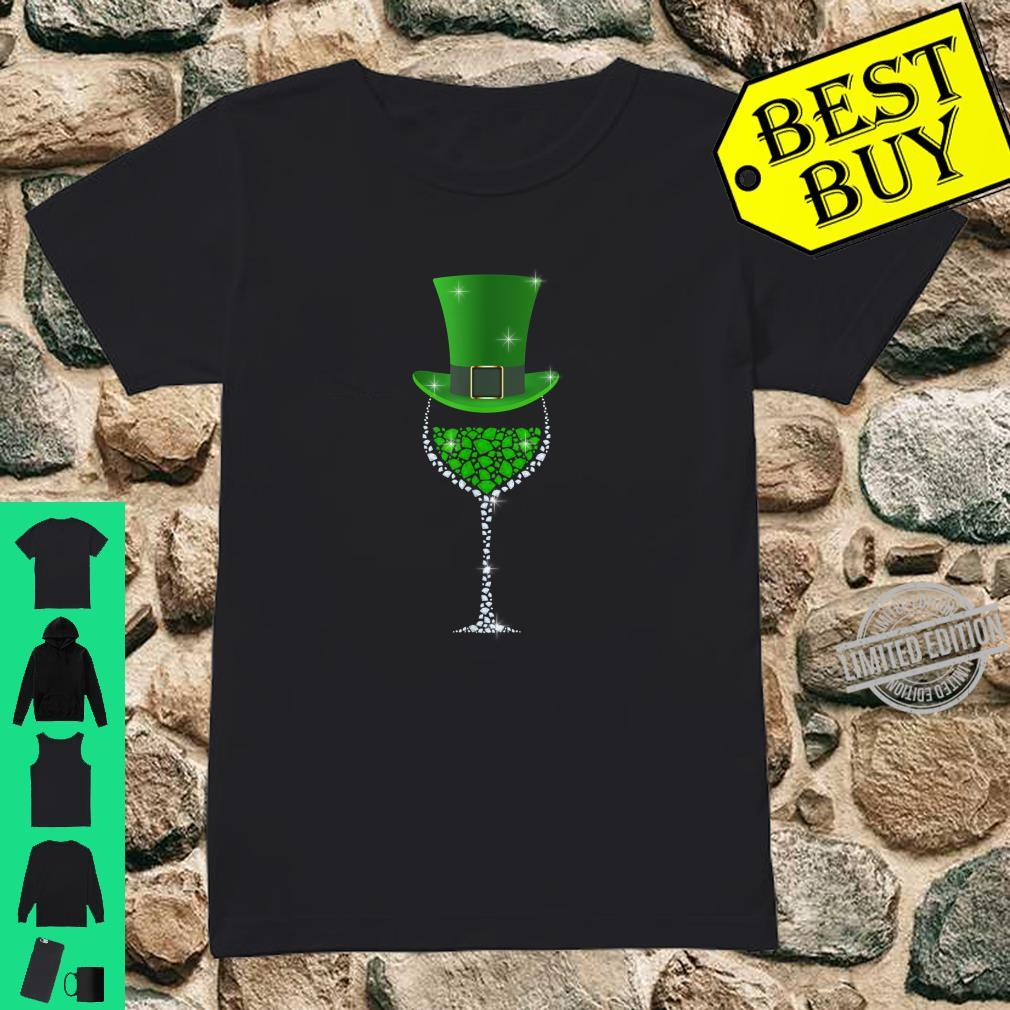 St Patricks Day Shamrock Wine Glass Shirt ladies tee