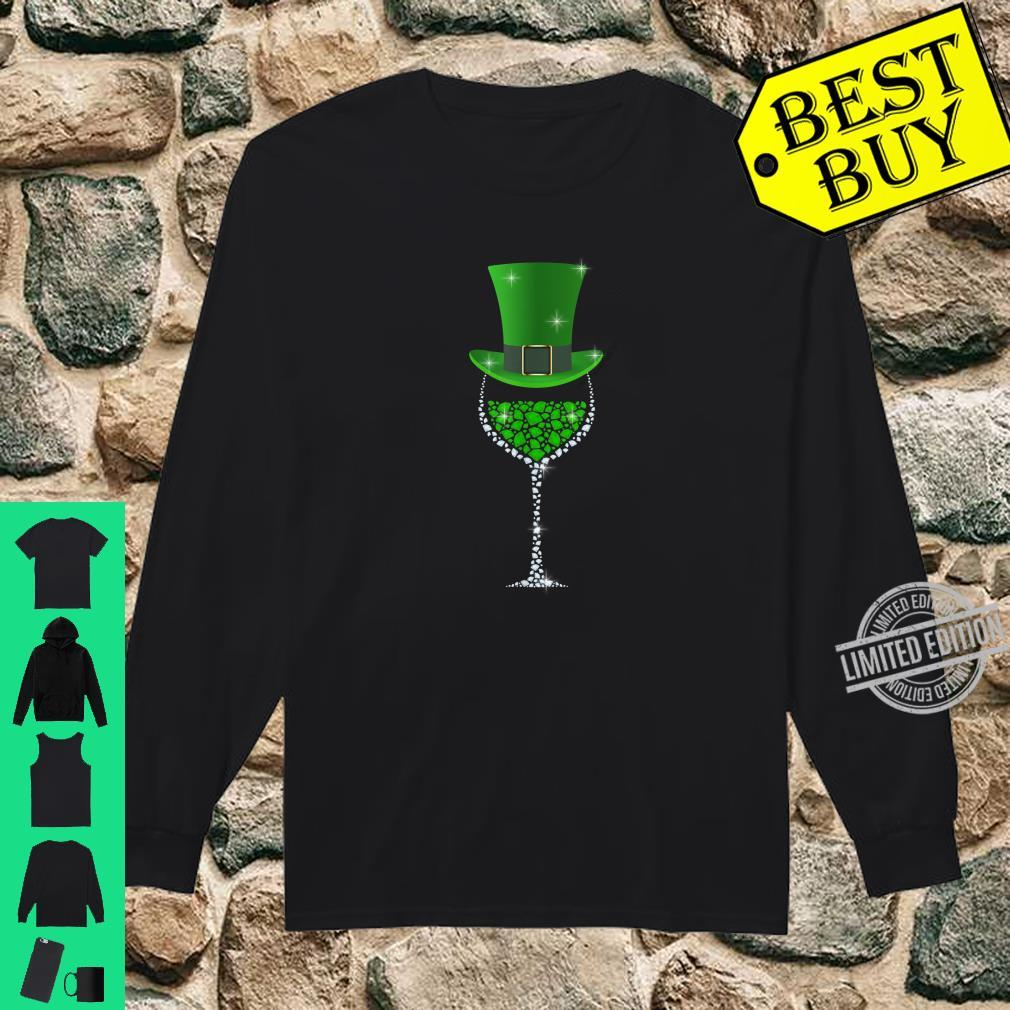 St Patricks Day Shamrock Wine Glass Shirt long sleeved