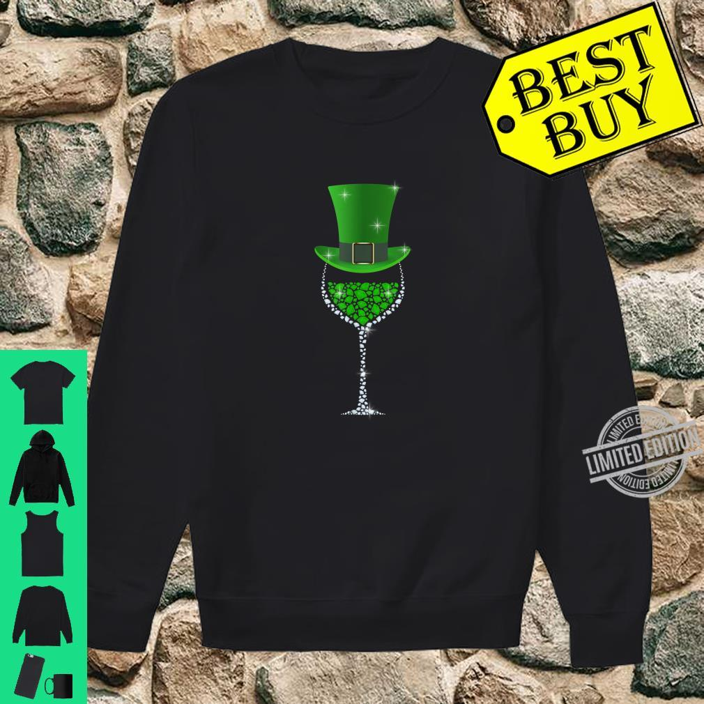 St Patricks Day Shamrock Wine Glass Shirt sweater
