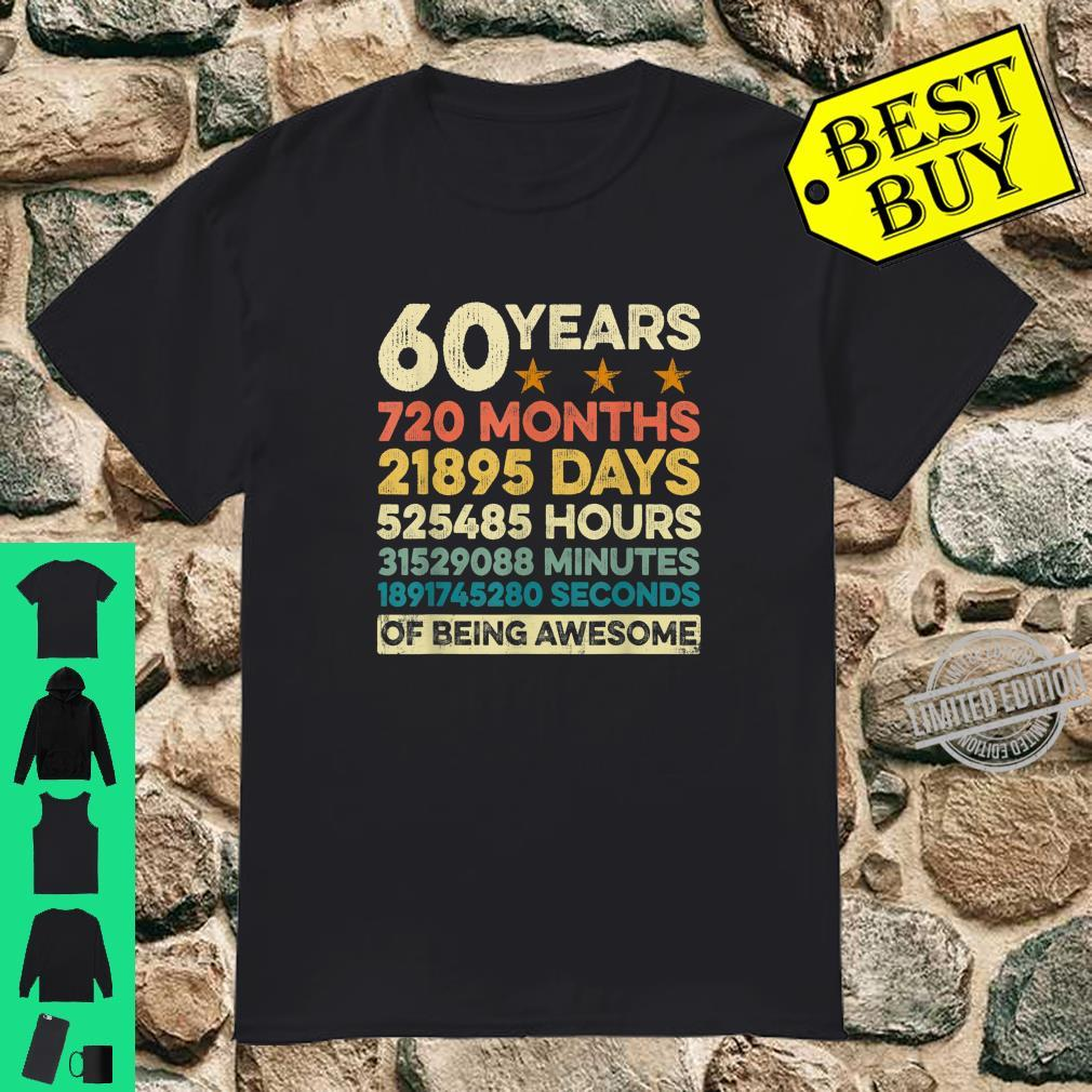 Vintage 60th Birthday 60 Years Old 720 Months Shirt